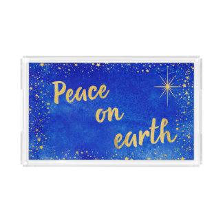 Plateau En Acrylique Paix sur le rectangle de bleu et d'or de Noël de