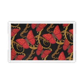 Plateau En Acrylique Papillon rouge sang de planeur