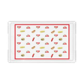 Plateau En Acrylique Pastèque mignonne, hamburger, hot dog, portion de