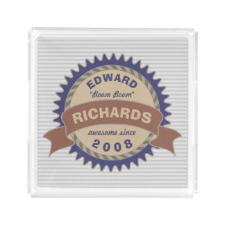 Plateau En Acrylique Rayures bleues de gris de logo de Brown de