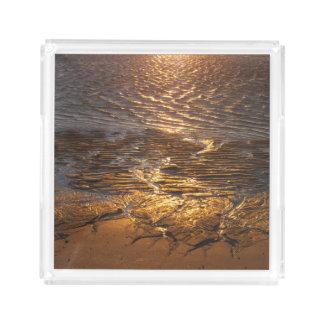 Plateau En Acrylique Réflexion de coucher du soleil d'appartements de