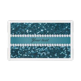 Plateau En Acrylique Scintillement bleu turquoise foncé et diamants de