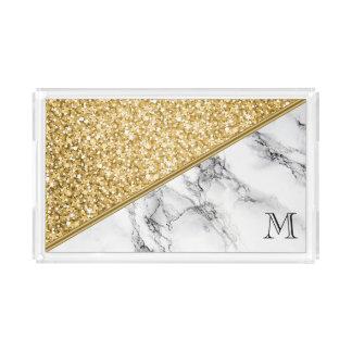 Plateau En Acrylique Scintillement décoré d'un monogramme d'or et
