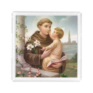 Plateau En Acrylique St Anthony de bébé Jésus de Padoue
