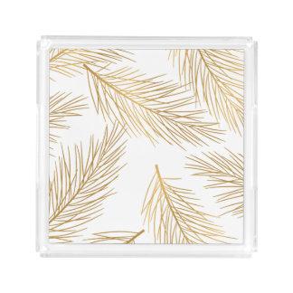 Plateau En Acrylique Vacances d'aiguilles de pin d'or