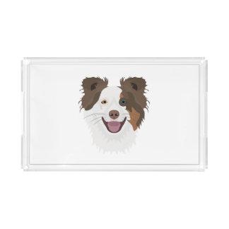 Plateau En Acrylique Visage heureux border collie de chiens