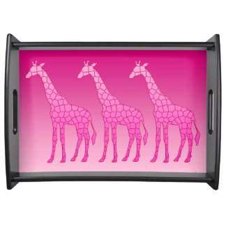 Plateau Girafe géométrique moderne, fuchsia et rose-clair