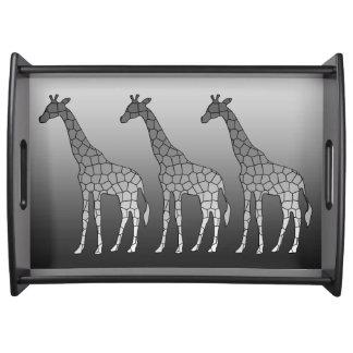 Plateau Girafe géométrique moderne, gris argenté/gris