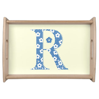 Plateau Lettre de motif de fleur R (bleue)