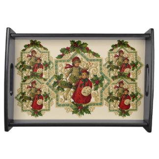 Plateau Médaillons de houx de Joyeux Noël de garçon et de