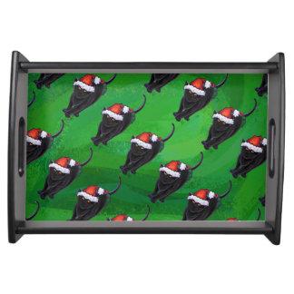 Plateau Motif de fête de chat noir sur le vert