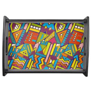 Plateau Motif tribal africain géométrique coloré