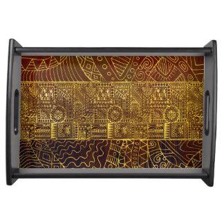 Plateau Motif tribal d'or sur la peinture de Brown