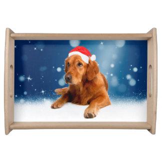 Plateau Neige mignonne de casquette de Père Noël de chien