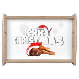 Plateau Noël de casquette de Père Noël de chien de Dogue