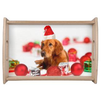 Plateau Noël rouge de casquette du chien W Père Noël de