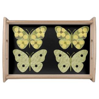 """Plateau """"Papillons"""" sages/plateau jaune de portion"""