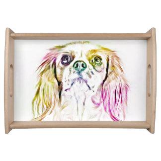 Plateau Peinture cavalière d'art de chien d'épagneul du