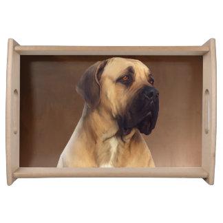 Plateau Peinture de portrait de chien de Dogue De Bordeaux
