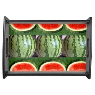 Plateau Rayures vertes rouges de fruits de fruit de
