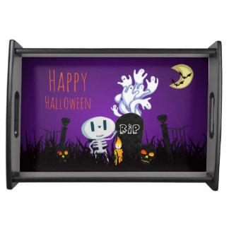 Plateau Squelette mignon éffrayant de cimetière heureux de