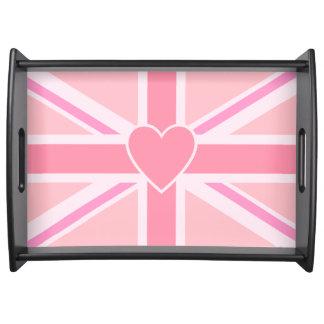 Plateau Union Jack/roses et coeur de drapeau