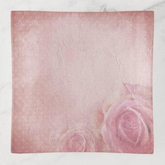 Plateau vintage rose de bibelot de roses