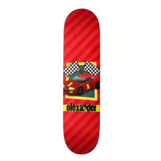 Plateaux De Skateboards Customisés Voiture de course rouge ; Rayures de rouge