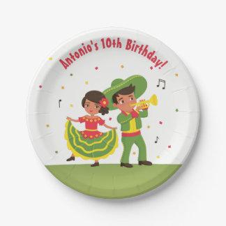Plats hispaniques de partie d'anniversaire de assiettes en papier