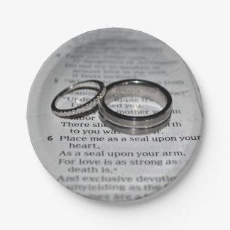 Plats jetables de vers de bible d'anneaux de assiettes en papier