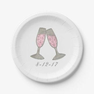 Plats nuptiales roses de date de mariage de douche assiettes en papier