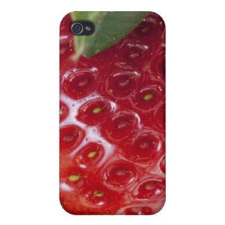 Plein plan rapproché de cadre d'une fraise coques iPhone 4/4S