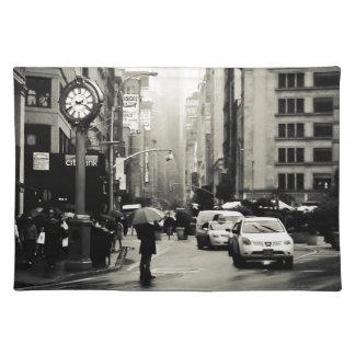 Pluie à New York City - style vintage Set De Table