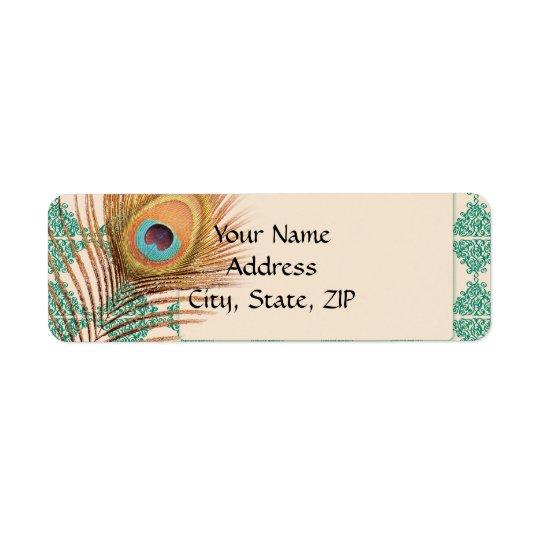 Plume de paon sur la tuile marocaine turquoise étiquettes d'adresse retour