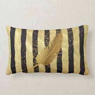 Plume d'or sur l'or et les rayures noires coussin rectangle