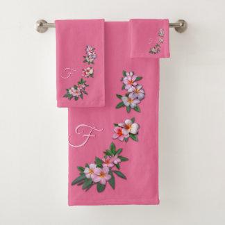 Plumeria sur le rose avec votre monogramme