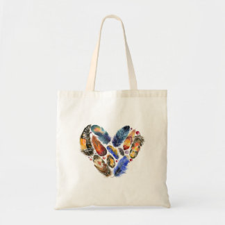 Plumes dans une conception d'aquarelle de forme de sac en toile budget