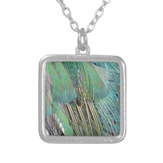 Plumes de paon vert et bleu collier