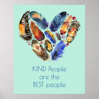 Plumes en forme de coeur de gentillesse inspirée poster