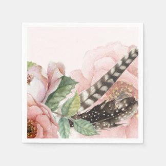Plumes et fleurs de Boho Serviette En Papier