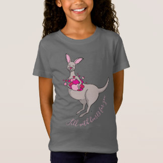 Poche de T-shirt gris de graphique de kangourou de