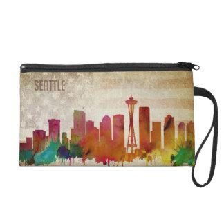 Pochettes Avec Dragonne Seattle, horizon de ville d'aquarelle de WA |