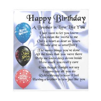 Po me de beau fr re joyeux anniversaire blocs notes - Idee cadeau beau frere ...