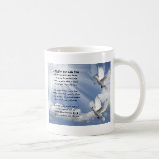 Poème de mère - colombes tasse