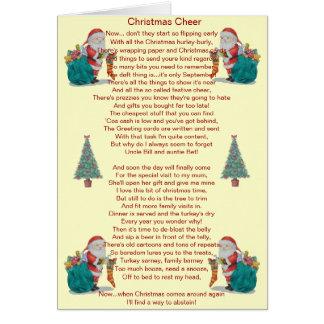 poème drôle père Noël de Noël et carte d'arbre de