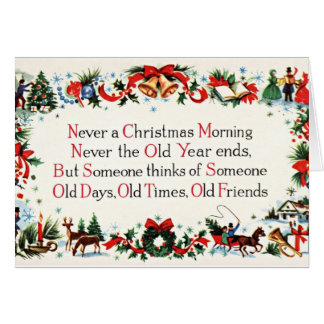 Poème vintage de Noël Carte De Vœux