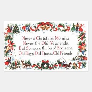 Poème vintage de Noël Sticker Rectangulaire