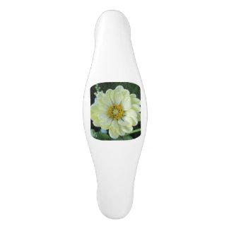 Poignée De Porte En Céramique Fleur jaune-clair de dahlia