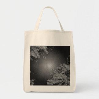 Poinsettia de Noël noire et gris III Sac De Toile