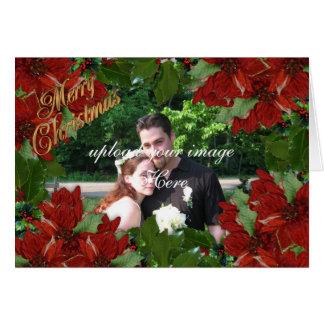 Poinsettias de houx de carte photo de Noël